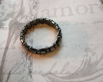 Vintage hematite stretch bracelet, stone, warm, black,