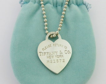 Authentic TIFFANY & CO Return to Tiffany Heart Tag Long Bead Chain Necklace