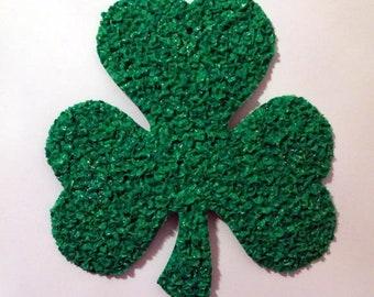 Vintage Melted Plastic Popcorn Shamrock Clover St. Patrick's Day Decoration by Kage