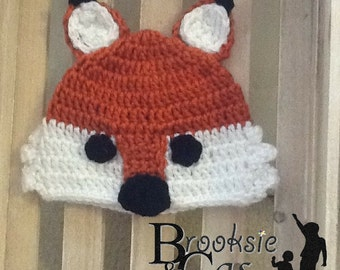 The Fox Handmade Crochet Hat Infant Toddler Child Teen Adult