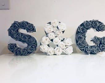 Wooden Floral Letters Set of 3