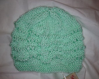 Hand Knit Baby Hat in Dreamy Green - Infant to 12 months
