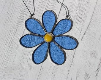 Blue Flower - Daisy Stained Glass Suncatcher - Window or Wall Hanging Ornament - Flower Suncatcher - Gift for Her