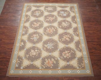 9X12 Fine Aubusson Weave Hand Woven Wool Area Rug Carpet (9.1 x 12) Floral Design