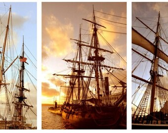 Ship Photo Prints, Ship home decor, Nautical Wall Art, Star of India, Fine Art Photography, Set of 3, 4 x 6 or larger, Sunset, blue water