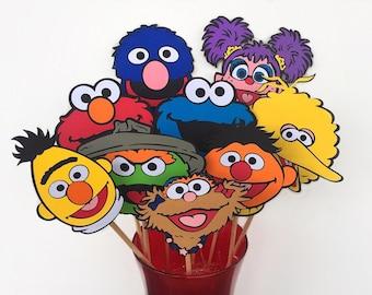 Sesame Street - Sesame Characters - Sesame Centerpieces - Sesame Street Decor - Sesame Street Party - Abby Cadabby - Oscar - Zoe - Elmo