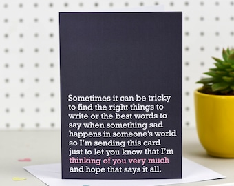 Sympathy Card - beautiful and sentimental 'Thinking of you' card for loss, bereavement, heartache, miscarriage, depression, divorce