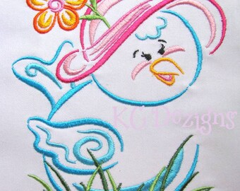 Outline Spring Birdie Machine Embroidery Design - Spring Bird Embroidery Design - Outline Bird Design - Embroidery Design - Outline Bird
