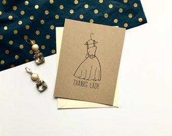 Thanks Lady Bridesmaid Card - Recycled Craft Brown Paper / Wedding Party Cards, Gift, Bridal Party, Ringbearer