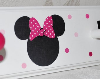 """24"""" with 4 Pegs . Personalized Coat Towel Hat Peg Rack . Minnie Mouse . Pink Polka Dot . Hailey"""