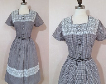 Vintage 1950s Black and White Gingham Lace Trim Day Dress with Rhinestone Buttons NOS