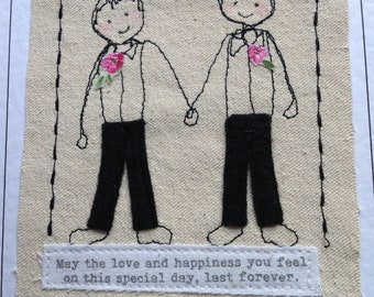 Gay Groom and groom wedding card Mr & Mr card LGBT wedding card  Handmade textile card for wedding. I can print  names and date at the top