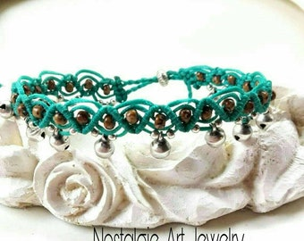 Macrame Anklet with Small Beads and Silver Bell's, the Thread have Turquoise Color, Adjustable Anklet, Foot  Jewelry, Body  Jewelry