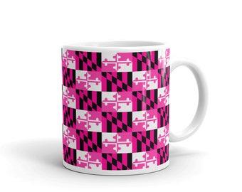Maryland Flag Checkered Pink Breast Cancer Awareness 11 oz. Coffee Mug
