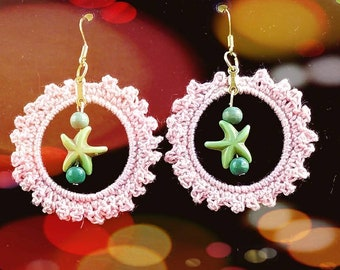 Summer Hoops Peach Mercerized Cotton Thread Green Starfish and glass Beads Boho Dangling Earrings