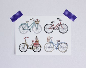 Bicycles print, various sizes