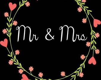 PRINTABLE Mr & Mrs Wedding Date Sign - Custom Printable, 8.5x11""