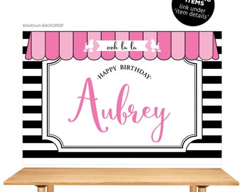 DIGITAL FILE Backdrop Poster: Paris Paint Party Theme Banner Backdrop 60x40 inches, Paris Paint Birthday Party Poster PDF