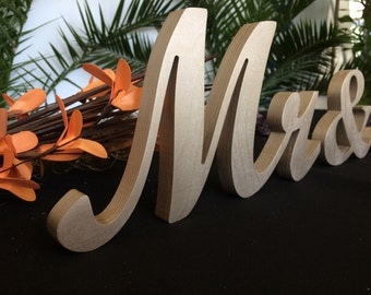 Champagne  Mr. & Mrs. letters wedding table decoration, freestanding Mr and Mrs signs for sweetheart table