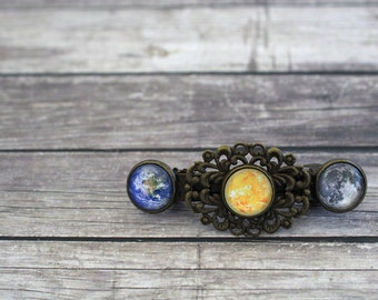 Sun Earth and Moon, Moon Barrette, Earth Barrette, Space Hair Clip, Space Barrette, Galaxy Barrette, Space Hairpin, Space Accessories