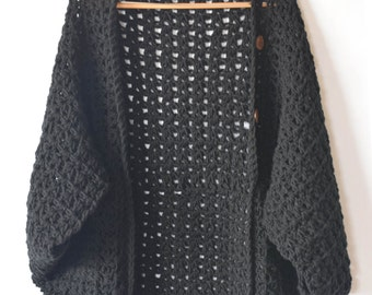 Crocheted Cacoon Pattern, Women's Crochet Poncho, Black Crochet Shrug Pattern, Easy Shrug, Easy Crochet Sweater Pattern, Chunky Crochet