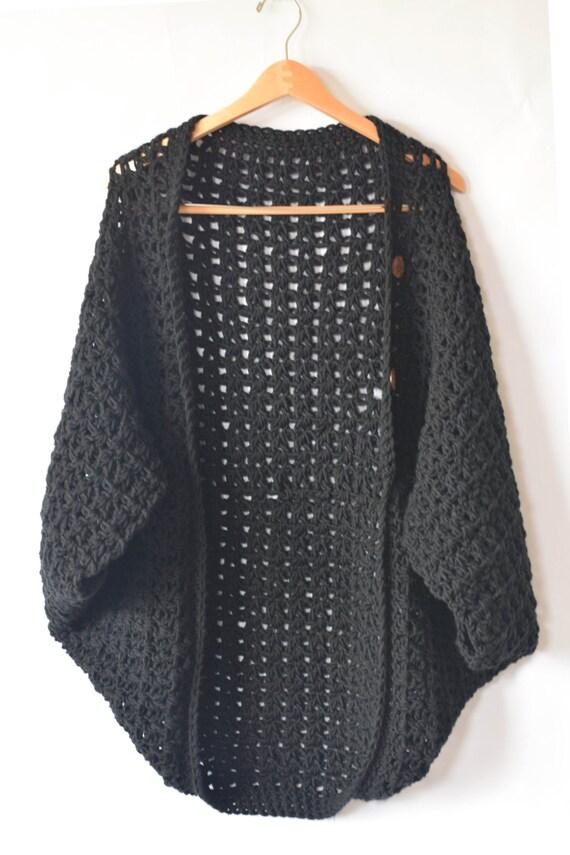 Crocheted Cacoon Pattern Women\'s Crochet Poncho Black