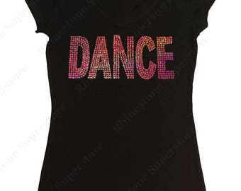 "Women's Sequence T-Shirt "" Pink AB Sequence Dance "" in S, M, L, 1x, 2x, 3x"