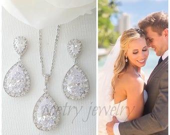 Wedding Jewelry Set, Crystal Bridal Earrings, Necklace Jewelry Set, Cubic Zirconia Teardrop Earrings, Bridal Jewelry Set, Evelyn Set