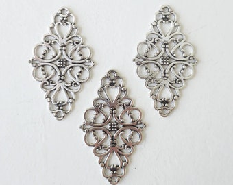 Silver Vintage Filigree Blank Connector 24x41mm Flower Charm Jewelry Findings 3 pieces or Bulk