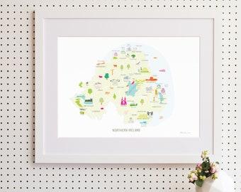 Map of Northern Ireland Art Print