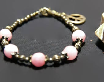 Bronze bracelet and pink alexandrite stones * land of India *.
