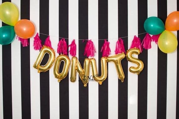 Donuts Rose Gold balloons gold silver mylar foil letter