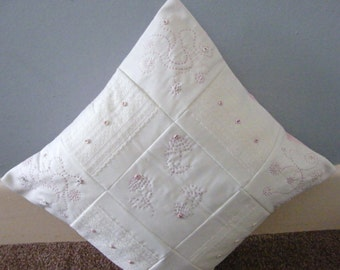 Hand stitched detail, lace and buttons padded patchwork squares, cushion cover 16 x 16 inch.pillow sham,throw pillow cover.