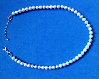 """Vintage! Sterling silver light gray pearl single strand necklace signed """"MS"""""""