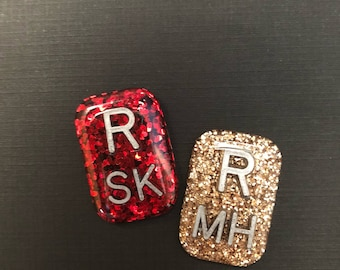 Red and Gold Glitter Rectangle Xray Markers