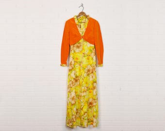 Vintage 70s Hippie Dress Floral Dress Floral Print Dress Maxi Dress Yellow Orange Velvet Ruffle Crop Shrug Bolero Jacket 2pc Outfit Set S M