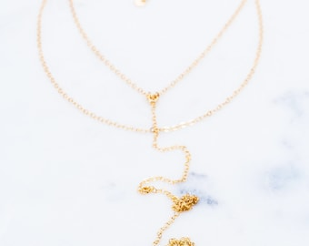 Mano Petite Layered necklace - gold shark tooth necklace, Y necklace, gold lariat necklace, multi strand necklace, gold Y necklace, Hawaii