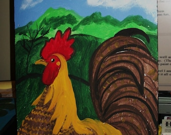 ROOSTER  original painting by NitA 1/2 off sale