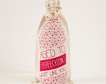 wine gift bag, birthday gift for her, aged to perfection