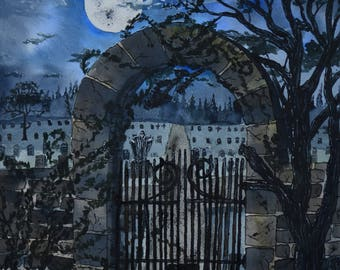 full moon over grave yard .rod iron gate and stone wall entrance