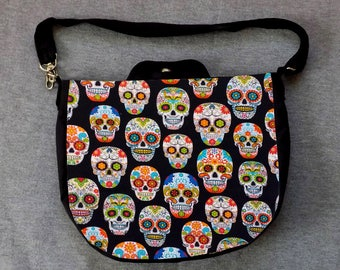 Sugar Skull Cross Body Purse Messenger Bag Day of the Dead