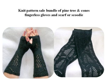 knit patterns, fingerless gloves and matching scarf knit pattern bundle of Pine tree and cones knit patterns, womens knit scarf and gloves