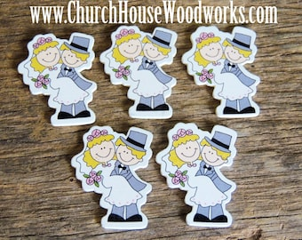 Wood Bride Groom pack of 5 - Use for crafts, scrap booking, embellishments, gifts
