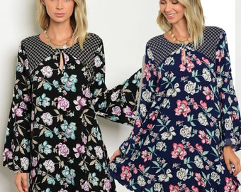 long sleeve floral dress with bell sleeves, bell sleeve floral dress in black and navy, multi colored flower dress with long sleeves