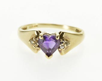 10k Heart Cut Amethyst Diamond Accented Ring Gold
