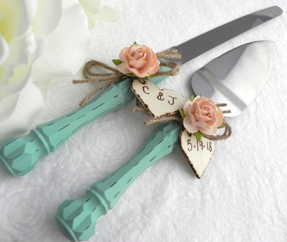 Rustic Chic Wedding Cake Server And Knife Set, Robin Egg Blue and Peach, Personalized Wood Hearts, Bridal Shower Gift, Wedding Gift