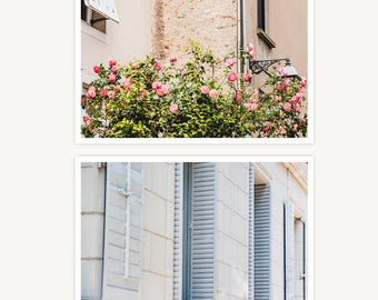 "France Travel Photography, ""Roses and Shutters"", Set of 2 Fine Art Prints, Gallery Wall, Home Decor, Gift"