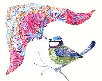 Singing Blue Tit, song bird aquarelle artwork print, size A3