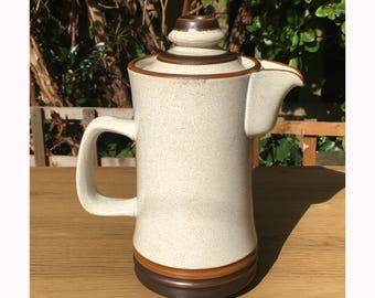 Vintage 1960's Oatmeal and Brown Denby Coffee Pot
