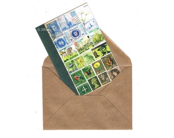Summer Notecard | Cheerful Note Card, Blue Green Postage Stamp Mail Art | Bon Voyage Good Luck Card | blank, any occasion A6 greeting card